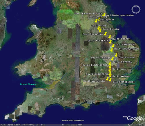 March of the abolitionists part 1 the meridian walk map of the walk google earth publicscrutiny Image collections